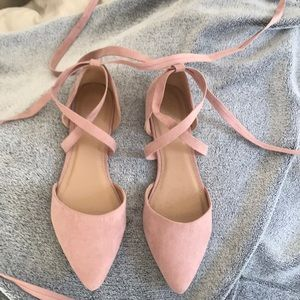 New ankle tie blush pink pointy toe flats Sz 9